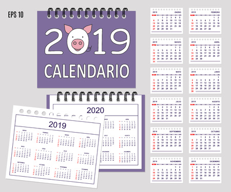 Desk calendar year 2019 with cartoon pig muzzle on cover. Set of 12-month isolated pages and  full calendar year 2019, 2020. Spanish language.