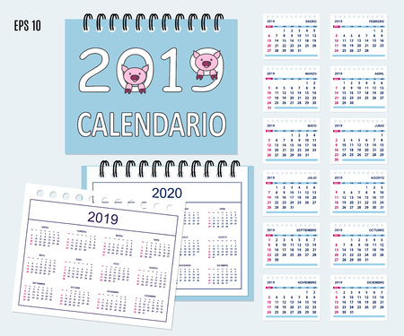 Desk calendar year 2019 with cartoon pig muzzles on cover. Set of 12-month isolated pages and  full calendar year 2019, 2020. Spanish language.  イラスト・ベクター素材