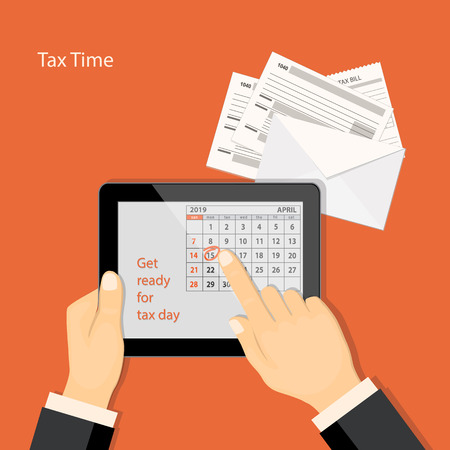 Flat modern design concept of tax day, taxes counting time with human finger showing at the date 15 April of the calendar 2019 year in the tablet.