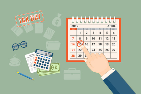 Flat modern design concept of tax day, taxes counting time with human finger showing at the date 15 april 2019. Mockup of the April 2019 year page of the spiral desk calendar. EPS 10  イラスト・ベクター素材