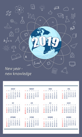 American student calendar for wall 2019 year on the dark blue background with number 2019, globe and hand drawn symbols education. English language. Week starts on Sunday. eps 10