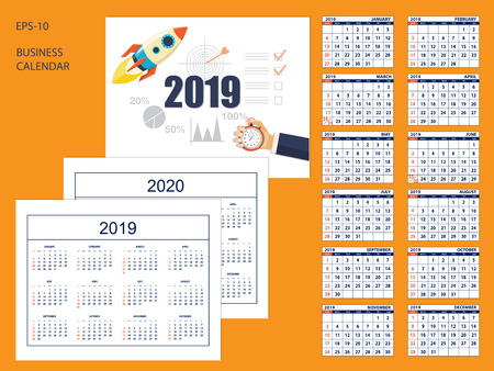 Business american calendar for desk 2019 year with the starting rocket on cover. Set of 12 month pages. Full 2020 year calendar. English language.