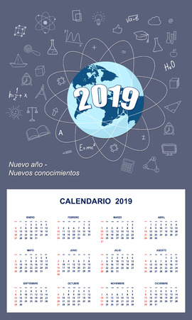 Latin-American student calendar for wall 2019 year on the dark blue background with number 2019, globe and hand drawn symbols education. Spanish language. Week starts on Sunday. 일러스트