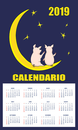 Latin-American  children calendar 2019 year on the dark background with number 2019 and pair cartoon cute piggies sitting on the moon. English language. Week starts on Sunday.