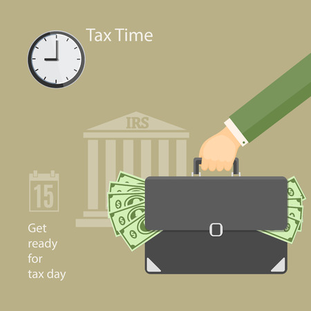 Flat modern business concept of tax day, payments time, tax time with human hand keeping the briefcase with money and wall clock on the irs building background. EPS 10
