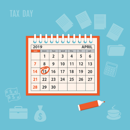 Flat modern business concept of tax day, payments time, tax time with marked number 15 of the April page of the calendar 2019 year. Mockup of the spiral desk calendar. EPS 10  イラスト・ベクター素材