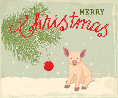 Retro christmas card with handwritten text Merry Christmas, little piglet, symbol year 2019 according to Chinese astrology on the vintage winter background. eps 10