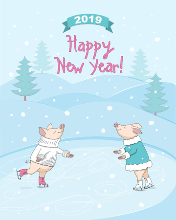 New year 2019 card with ice skating couple cute cartoon piglets, symbol year 2019, number 2019 on the ribbon and hand written text Happy New Year, winter landscape background. eps 10