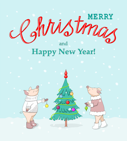 New year card with handwritten text Merry Christmas, decorating fir tree cute cartoon piglets, symbol year 2019 according to Chinese astrology on the winter background. eps 10