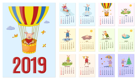 Kids calendar for wall 2019 year of pig. Set of the 12-month isolated pages with  illustrations of piglets. Spanish language. Week starts on Sunday.