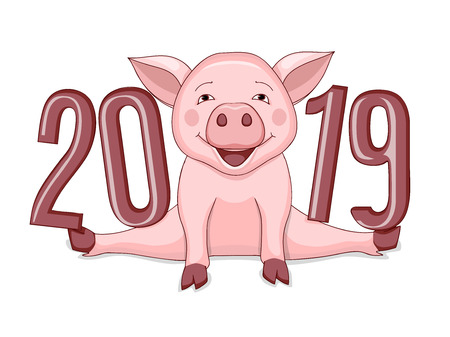 Cartoon cute piggy, symbol 2019 year according to Chinese astrology with three dimensional visual number 2019. Illustration for new year card, calendar cover. Isolated on white.