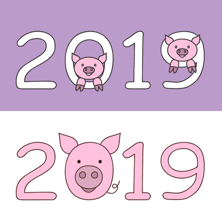 Set of flat isolated font numbers 2019 with cartoon muzzle of pig, symbol 2019 year by the oriental calenadar.