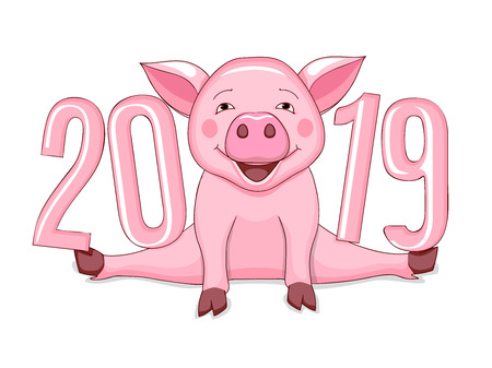Cartoon pink piggy, symbol 2019 year according to Chinese astrology with three dimensional visual number 2019. Illustration for new year card, calendar cover. Isolated on white. Çizim