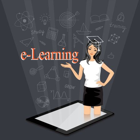 Flat isometric modern design with word e-learning and coming out girl from the touchpad. E-learning,  online education, home education concept with hand drawn school icons. 向量圖像