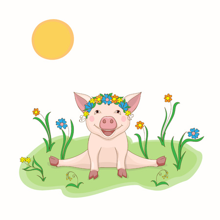 Isolated cartoon cute piggy, symbol year 2019 according to Chinese astrology and oriental calendar with a wreath of flowers. Kids book illustration piggy in the meadow. eps 10 Ilustração