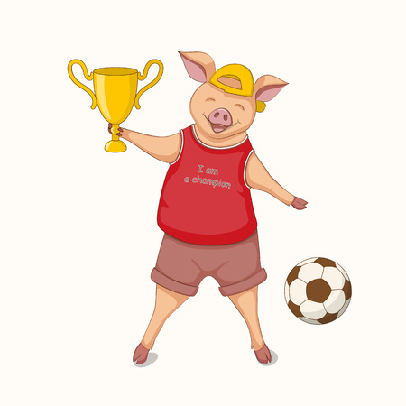 Isolated cartoon cute piggy, symbol year 2019 according to Chinese astrology and oriental calendar with winning cup and soccer ball. Kids book illustration piggy a champion. eps 10