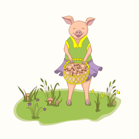 Isolated cartoon cute piggy, symbol year 2019 according to Chinese astrology and oriental calendar with basket of mushrooms. Kids book illustration piggy on the forest glade. eps 10 Ilustração
