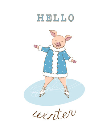 Greeting card with ice skating cute cartoon piggy, symbol year 2019 according to Chinese astrology and oriental calendar and text hello winter. Kids book illustration. eps 10