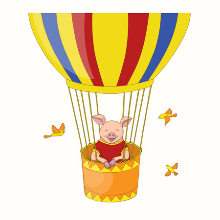 Isolated cartoon cute piggy, symbol year 2019 according to Chinese astrology and oriental calendar in the air ball. Kids book illustration piggy flying in the air ball. eps 10