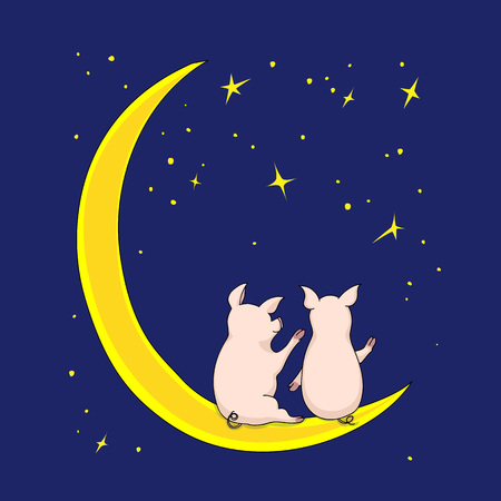 Cartoon illustration couple of piggies sitting on the moon on the dark blue background whith stars. Kids book illustration. eps 10 Çizim