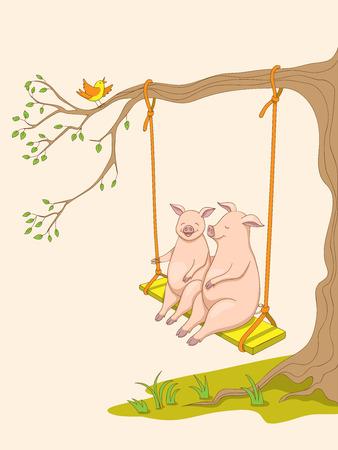 Zwei niedliche Schweinchen der Karikatur, Symboljahr 2019 nach chinesischer Astrologie und orientalischem Kalender, der auf der Schaukel sitzt. Kinderbuchillustration Schweinchen im Wald auf der Schaukel. eps 10