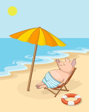 Colorful hand drawn cartoon cute piggy, symbol year 2019, lies on the beach in the chaise lounge. Summer vacation concept or kids book illustration. eps 10.