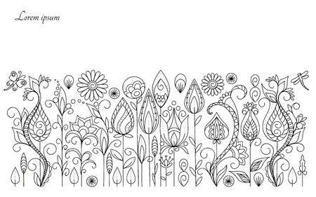 Hand drawn floral background in boho style with flowers and leaves. Isolated page for adult anti-stress coloring book, decorate wall