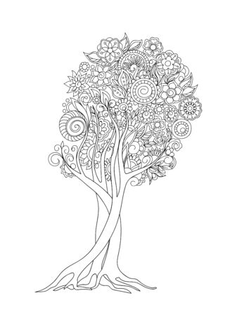 Hand drawn patterned tree crown in zen tangle style. Isolated image for adult anti-stress coloring book, home art, decorate wall.