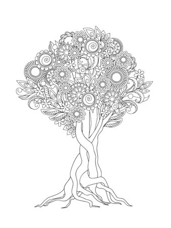 Hand drawn patterned tree crown in zen tangle style. Isolated image for adult anti-stress coloring book