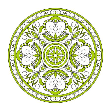 Isolated  mandala with hand drawn elements in Arabic, Indian, turkish, pakistan motifs for yoga, anti-stress therapy