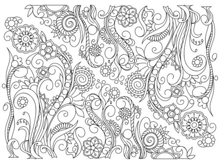 Hand drawn floral background in boho style with mandalas and flowers. Isolated page for adult anti-stress coloring book. Ilustração
