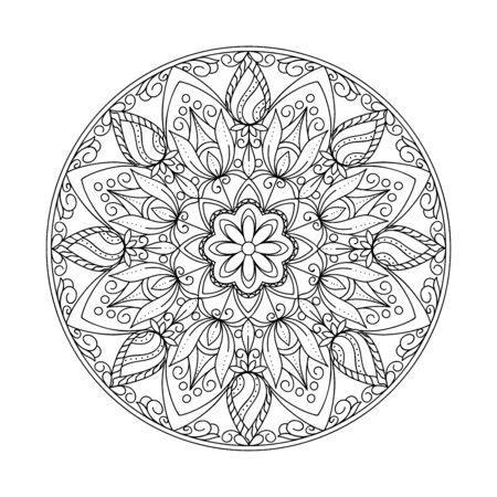 Monochrome isolated mandala with hand drawn elements in Arabic, Indian, turkish, pakistan motifs for yoga, anti-stress therapy, adult coloring book,  clothes, apparel, wall art, tattoo. eps 10