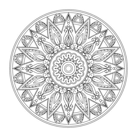 Monochrome isolated mandala with hand drawn elements in Arabic, Indian, turkish, pakistan motifs for yoga, anti-stress therapy.