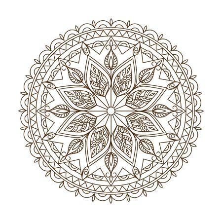Mandala isolé monochrome avec des éléments dessinés à la main en motifs arabes, indiens, turcs, pakistanais pour le yoga, thérapie anti-stress, livre de coloriage pour adultes. Vecteurs