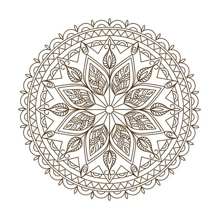 Monochrome isolated mandala with hand drawn elements in Arabic, Indian, turkish, pakistan motifs for yoga, anti-stress therapy, adult coloring book.