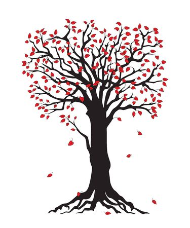 Black silhouette illustration tree with red leaves. Icon tree isolated on white background.
