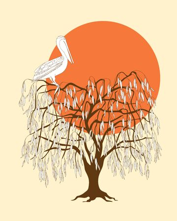 Dark brown silhouette of the tree with pelican and red sun. 向量圖像