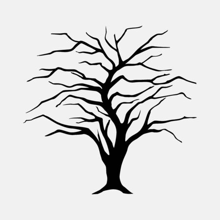 Black silhouette illustration willow tree without leaves. Icon tree isolated on white background.