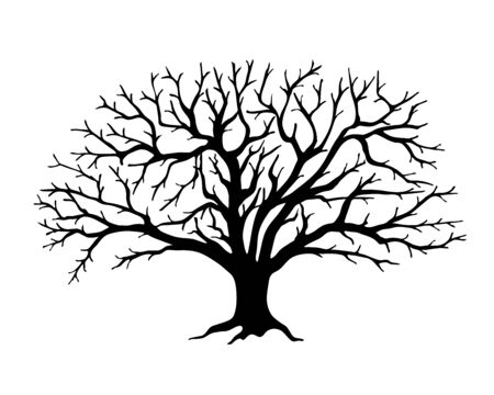 Black silhouette illustration apple tree without leaves. Icon tree isolated on white background.