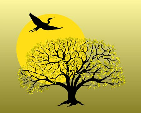 Black silhouette of the tree and flying heron and yellow sun. Cartoon vector illustration for book, magazine, home art, decorate wall