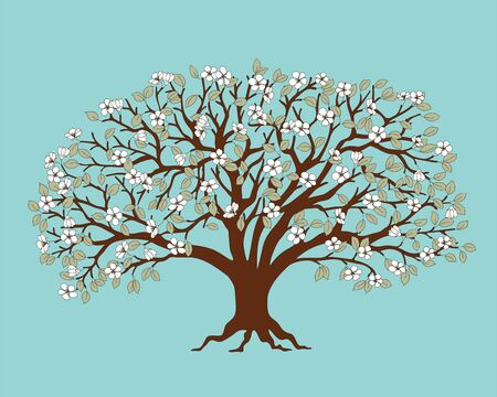 Dark brown silhouette apple tree with blossom isolated on the blue background.