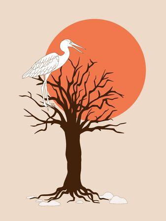 Dark brown silhouette of the tree with heron and red sun. Cartoon vector illustration Ilustração