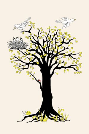 Black silhouette of the tree with yellow leaves, birds and nest.