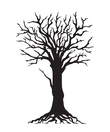 Black silhouette illustration tree with roots without leaves. Icon tree isolated on white background.