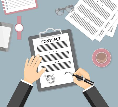 Businessman signing a contract. Flat concept of business financial agreement, management, marketing. Top view the workplace, man hand holding a pen, paper document with sign and stationery.