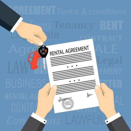 Flat modern concept of financial operations, rent, sale, business. The man hand giving car keys and hands holding a rental agreement and words on the background.