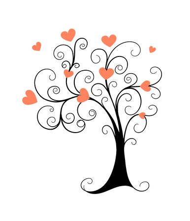 Vector monochrome illustration concept for Valentine Day greeting card, decoration romantic holidays. Doodle hand drawn black tree and pink hearts. Earth Day flyer design.