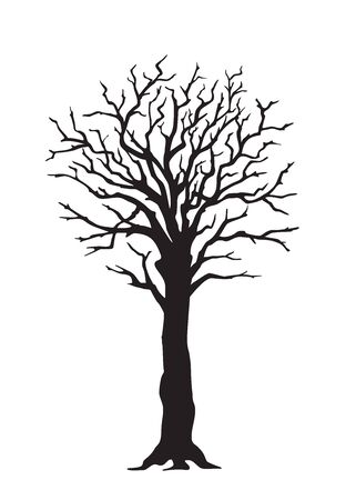Black silhouette illustration tree large trunk without leaves. Icon tree on the white background. Template for tattoo, print for t-shirt, home art, decorate wall, logo and Earth Day flyer design.