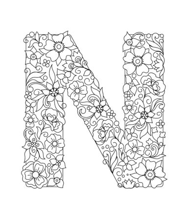 Capital letter N patterned with hand drawn doodle abstract flowers and leaves. Monochrome page anti stress adult coloring book. Vector illustration floral letters English language alphabet. EPS 10