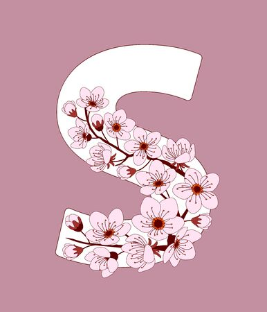 Capital letter S patterned with hand drawn doodle flowers of cherry blossom. Colorful vector illustration font with sakura twigs. Letter of alphabet English language. EPS 10